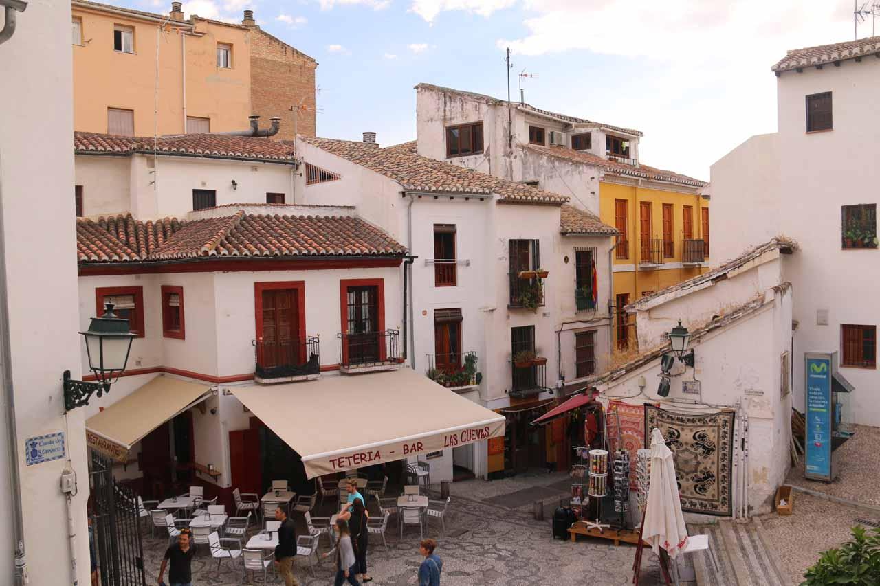 Looking down at the tight Plaza de San Gregorio