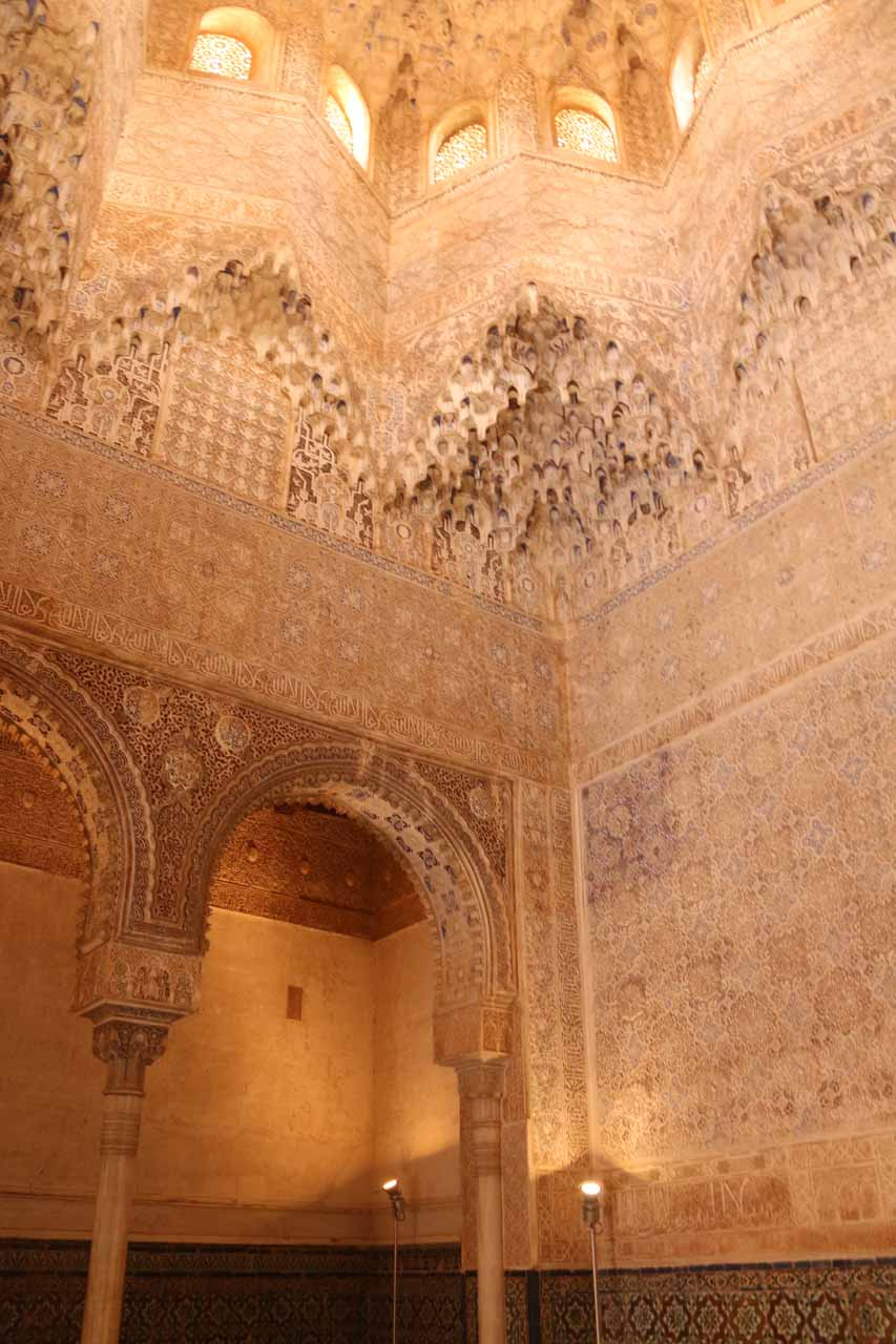 A tall room with a lot of plaster 'stalactites'