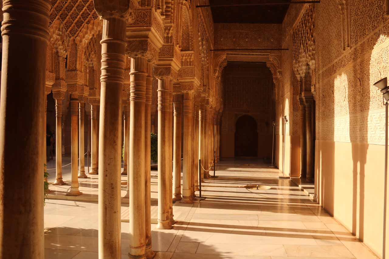Broad view of the perimeter of the Patio de los Leones showing just how many columns there are here
