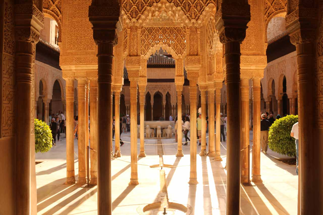 Another contextual look at the Patio de los Leones showing just how many columns there are here