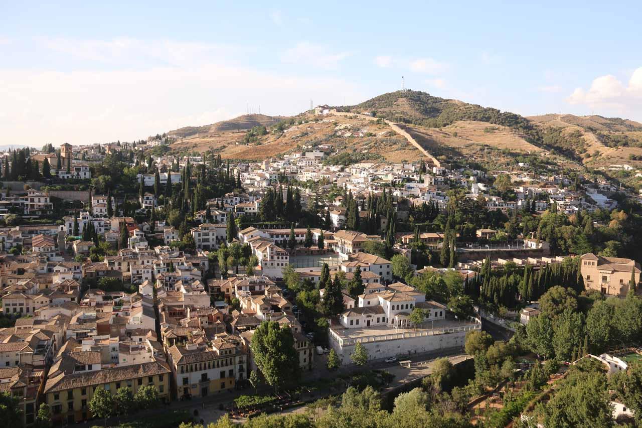 Looking towards the Albaicin Quarter from a balcony above the Partal Gardens