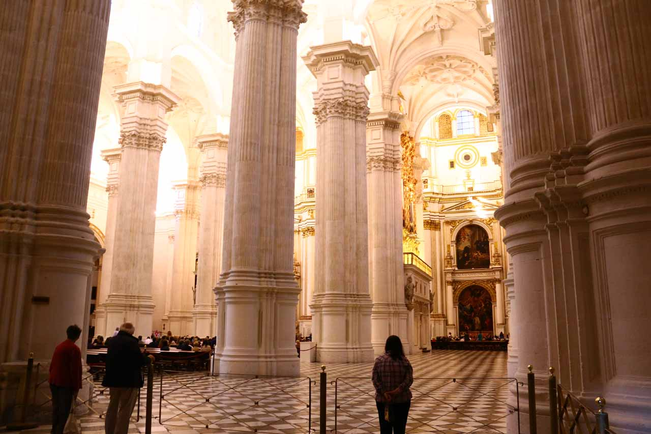 Sneaking a peek inside the Catedral de Granada before deciding we were too cathedraled out to visit this one