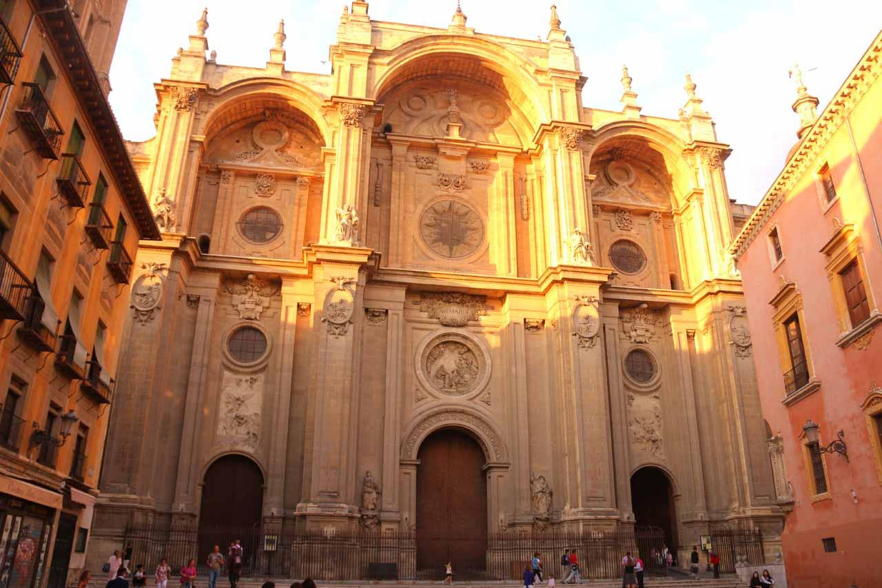 Checking out the front facade of the Catedral de Granada