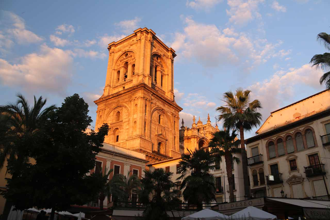 The bell tower of the Catedral de Granada getting the last rays of the sun for the day