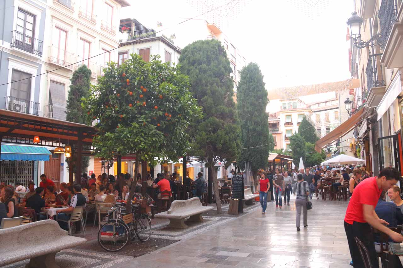 Bib Rambla and the adjacent plazas were bustling with restaurant and bar patrons