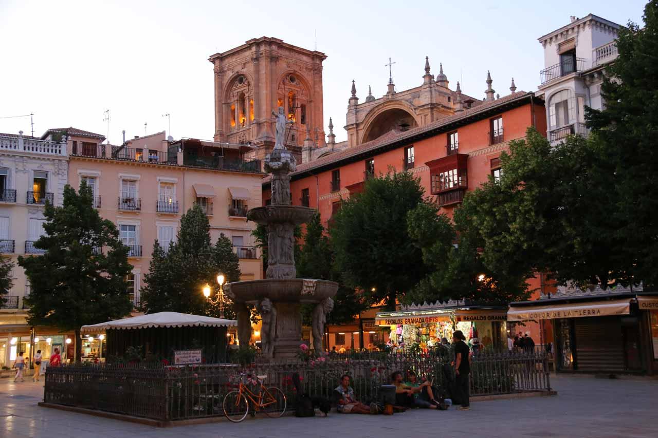 Looking back across the Plaza de Bib Rambla in the twilight hours after dinner