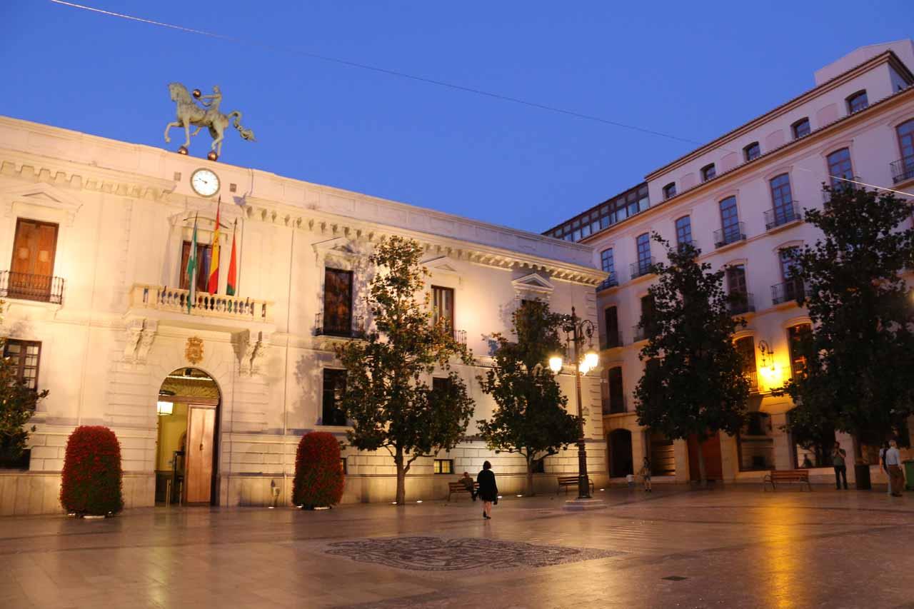 At the Plaza del Carmen in Granada in the twilight