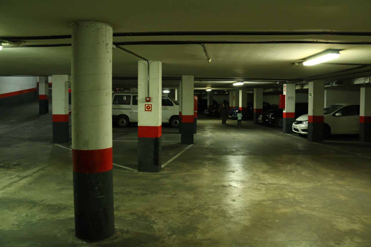 This car park in Granada, Spain had a few dedicated parking spaces for the apartment-like suites that we stayed at, but the spaces and driving corridors were very tight