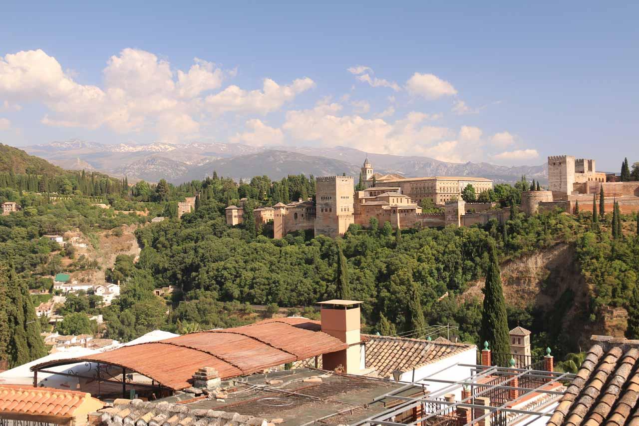 Looking over rooftops towards the Alhambra from Mirador de San Nicolas