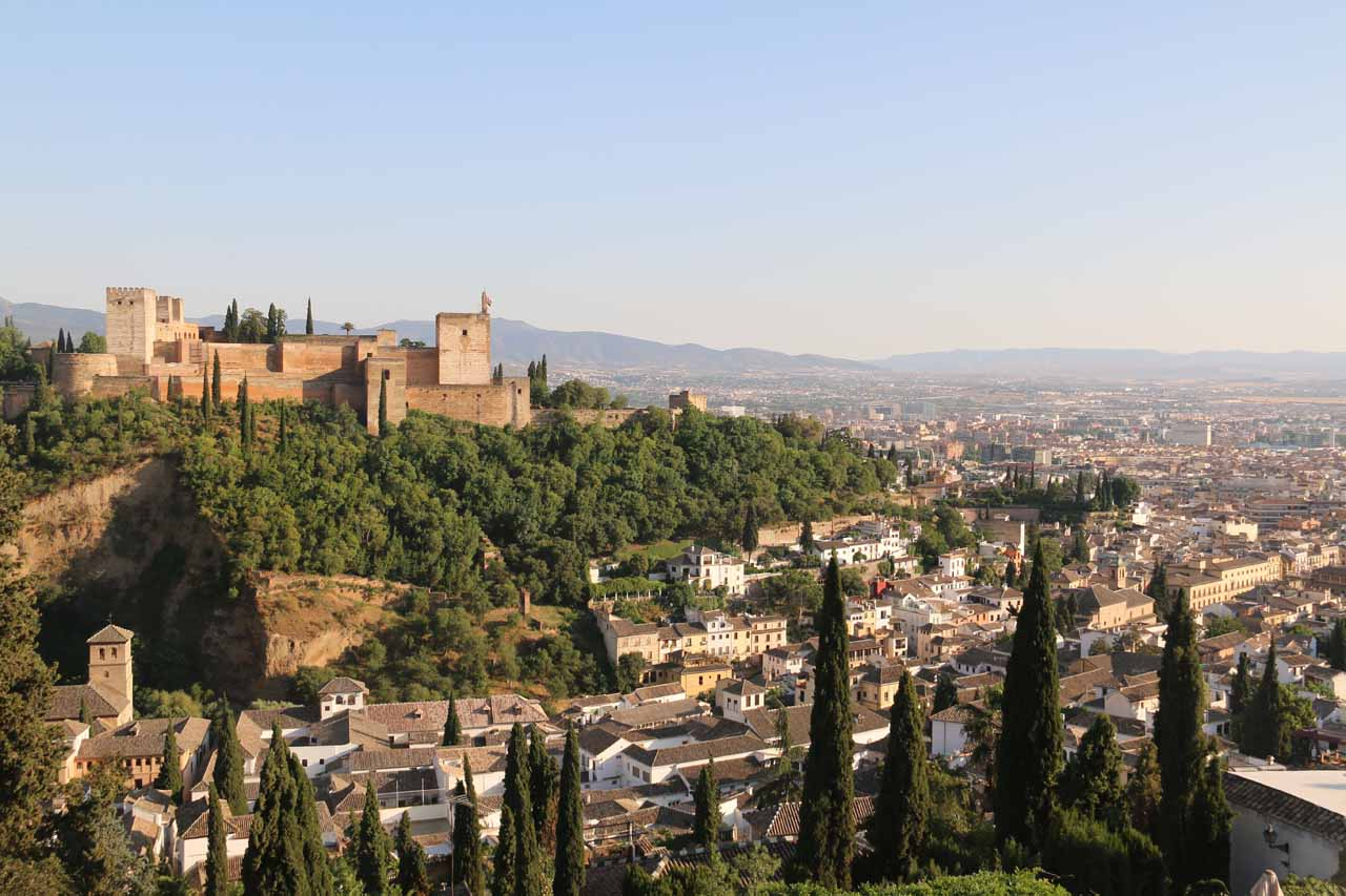 Open view towards the Alhambra and the rest of the city of Granada below