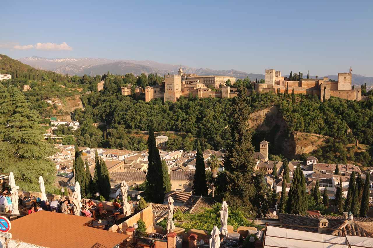 Wide open panoramic shot of the Alhambra from the terrace of the Estrellas Restaurant