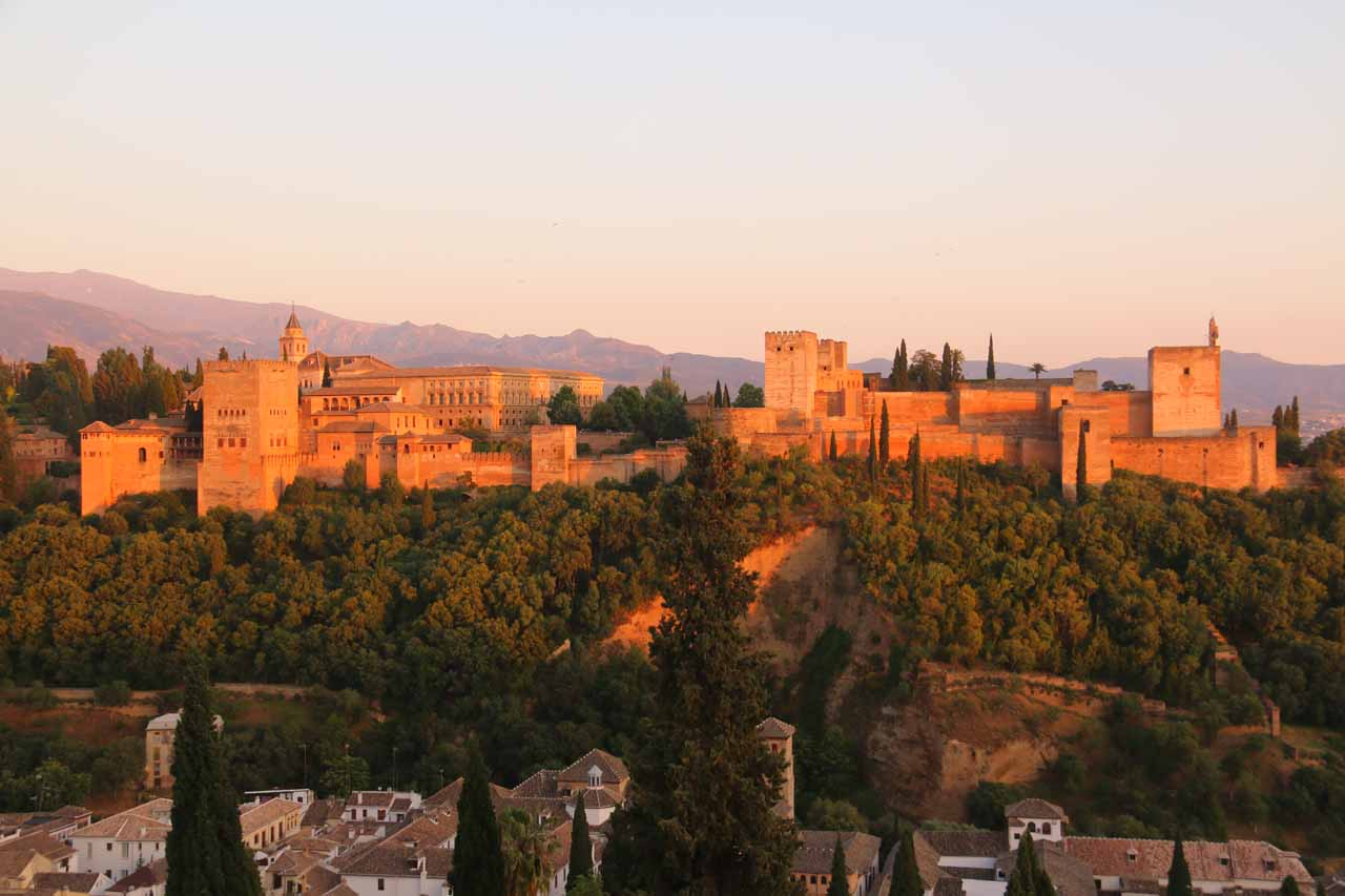 The Alhambra glowing even more as we were trying to savor our last moments at the Estrellas Restaurant