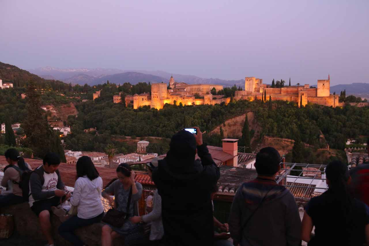 Context of the twilight scene at the Mirador de San Nicolas as hundreds of others were sharing the moment with us