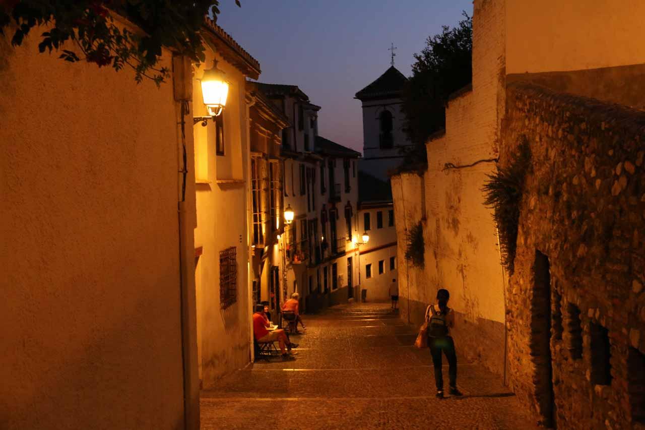 Following Julie down the familiar Cuesta San Gregorio towards the familiar Plaza de San Gregorio