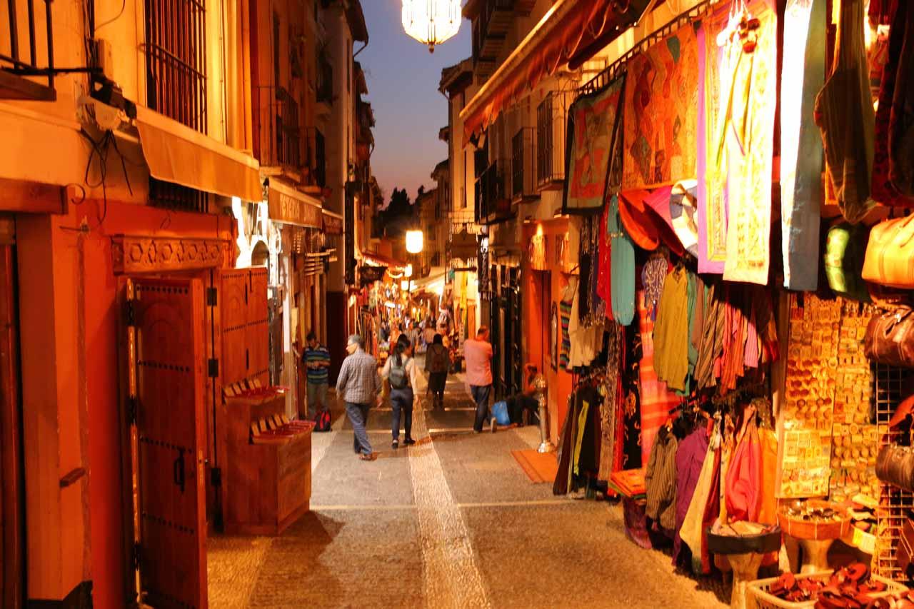 Passing through the familiar souks (or souk-like shops) in the Albayzin Quarter of Granada