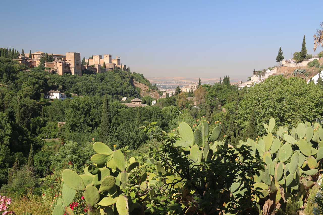 Views back at the Alhambra on the hill on the left and the Albayzin on the hill on the right