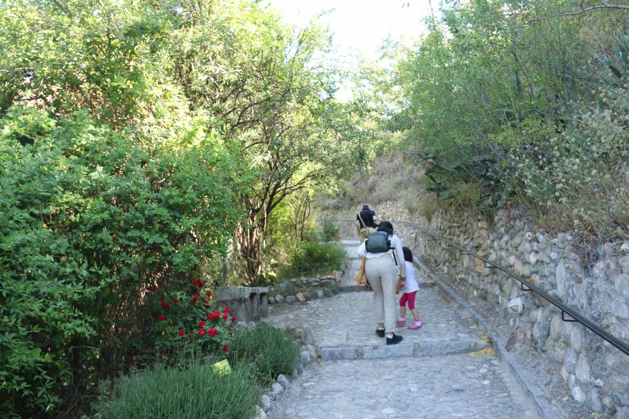 Tahia and Julie walking along some garden as we got closer to the Museum of Caves