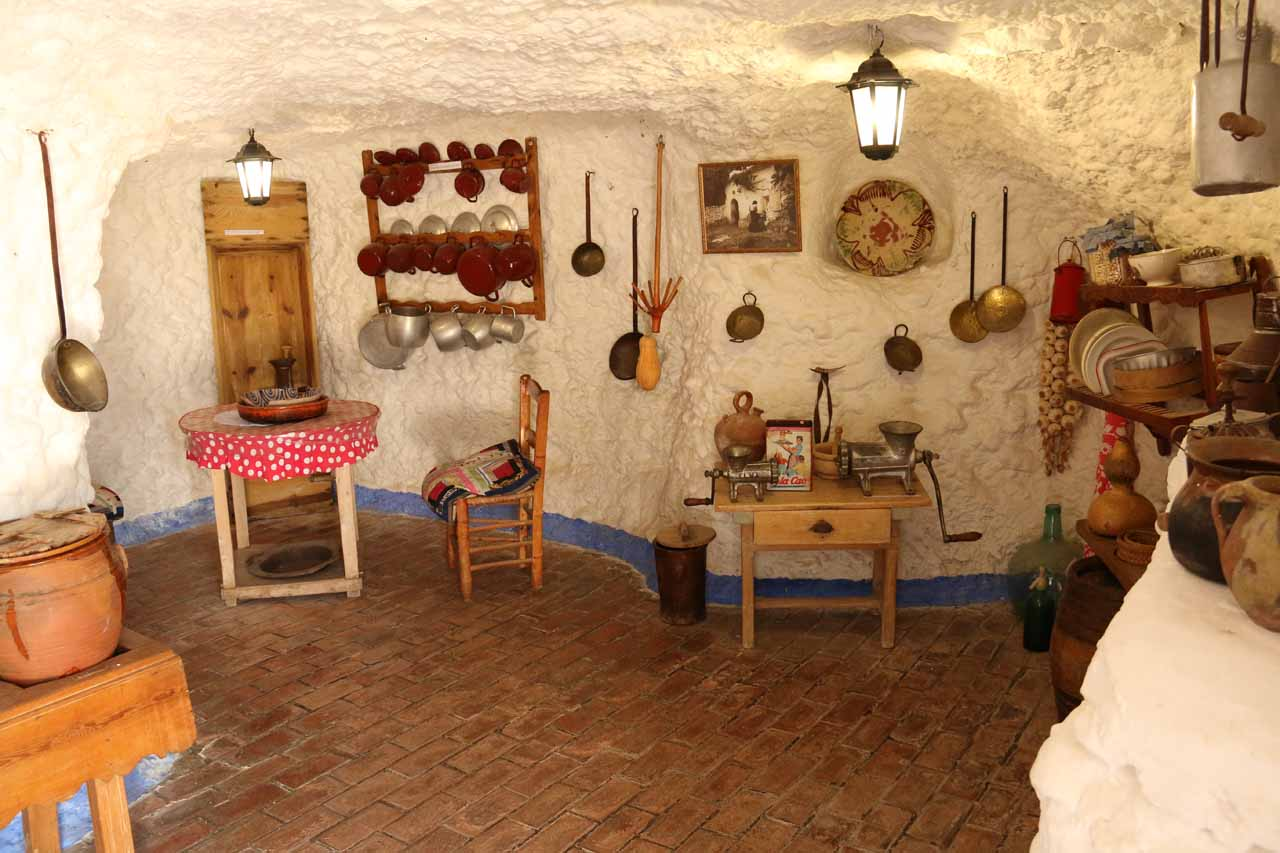 A re-creation of a kitchen at Sacromonte