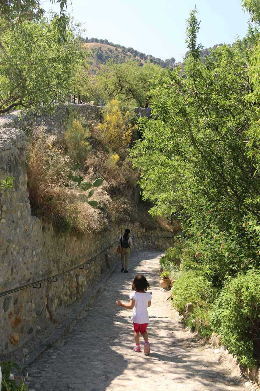 Tahia leaving the Museum of Caves of Sacromonte