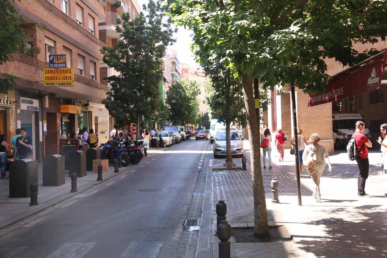 Now walking on the street leading closer to the Basilica de San Juan de Dios