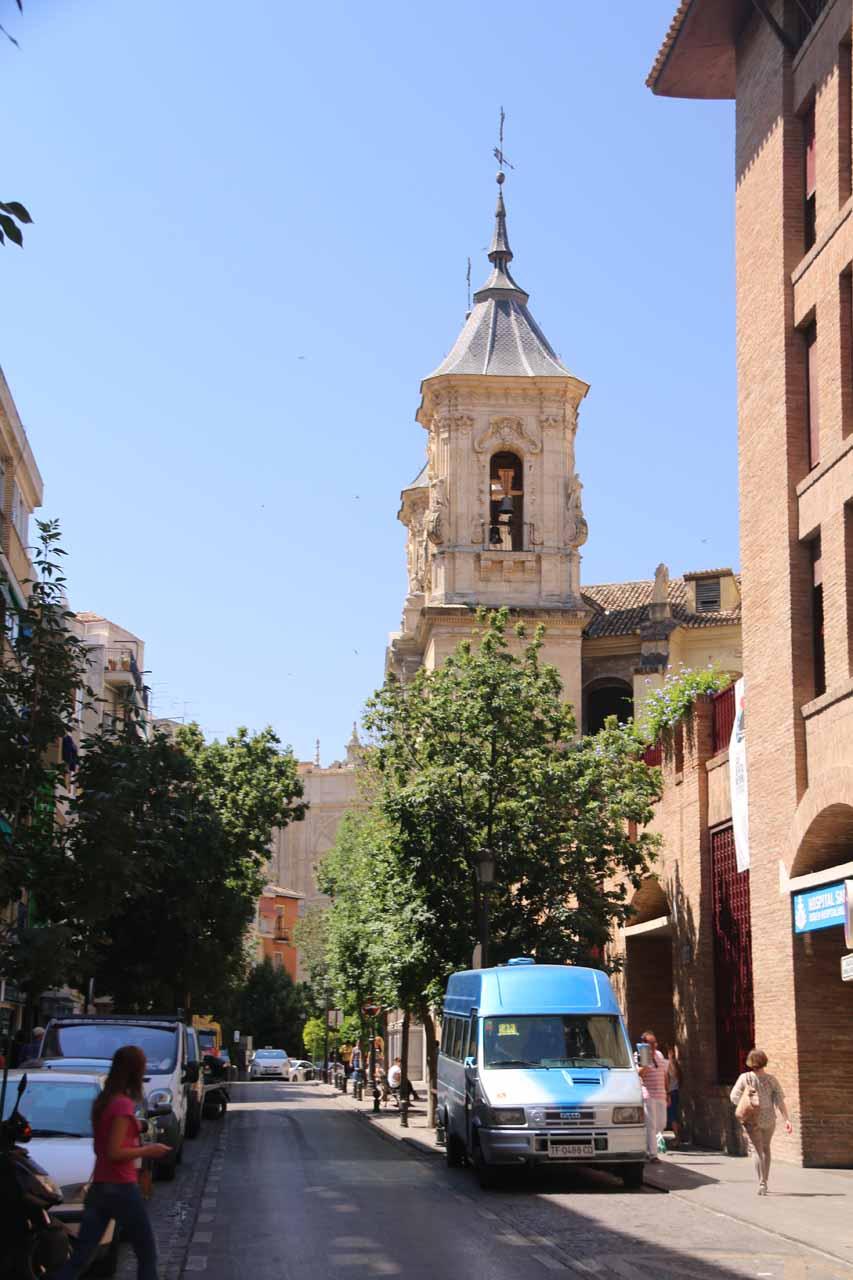Approaching the exterior of the Basilica de San Juan de Dios