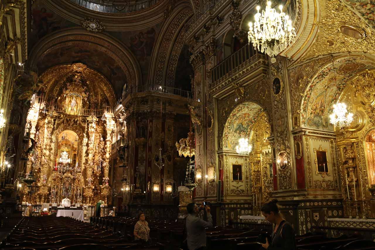 Inside the blinged out chapel at the Basilica de San Juan de Dios in Granada