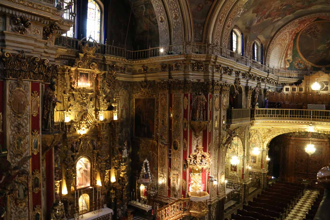 Looking down at the rest of the chapel from the upper levels that they let us see later on in our self-tour