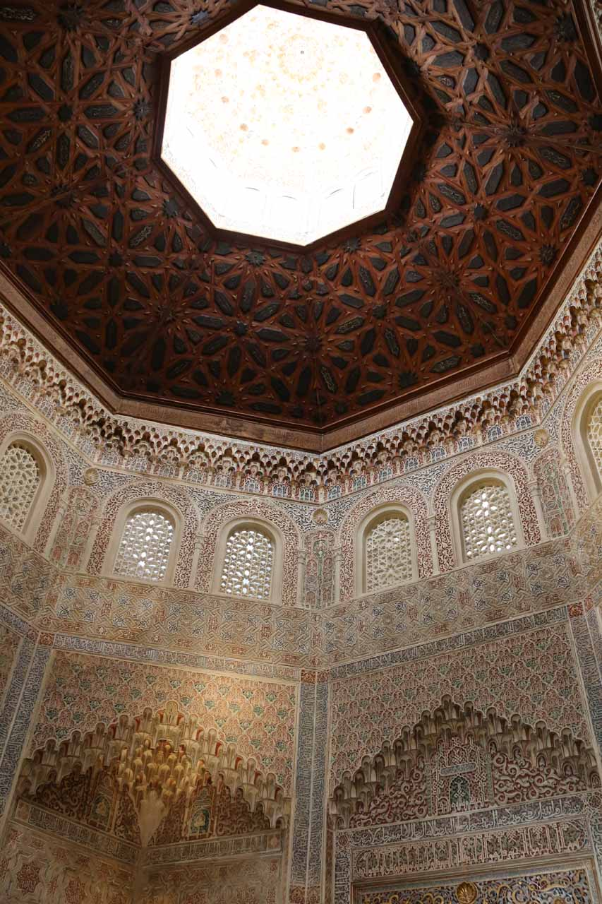 Looking up at the ceiling of the fancy prayer room at La Madraza