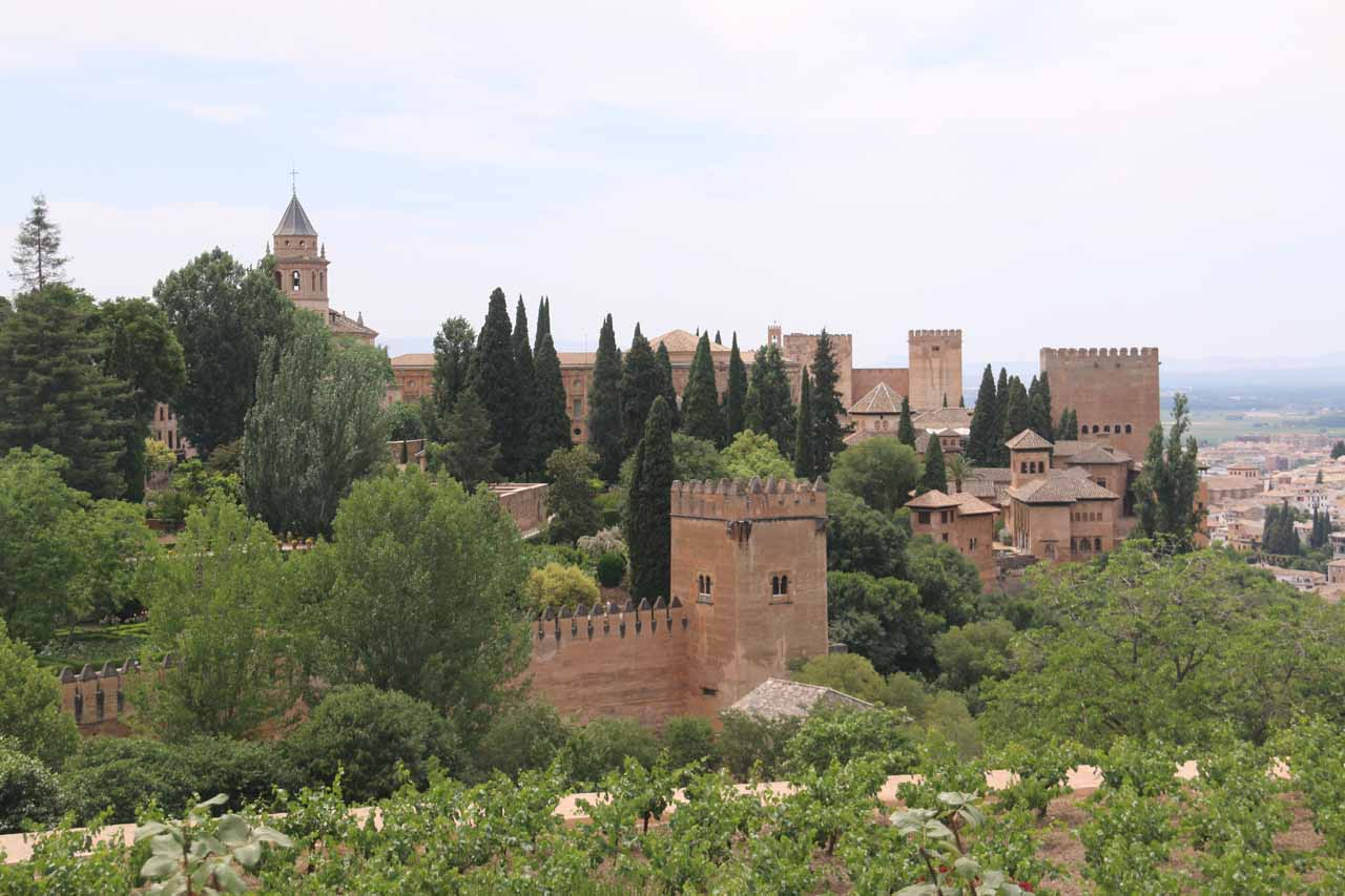 Looking towards the palaces of the Alhambra from the gardens of the Generalife