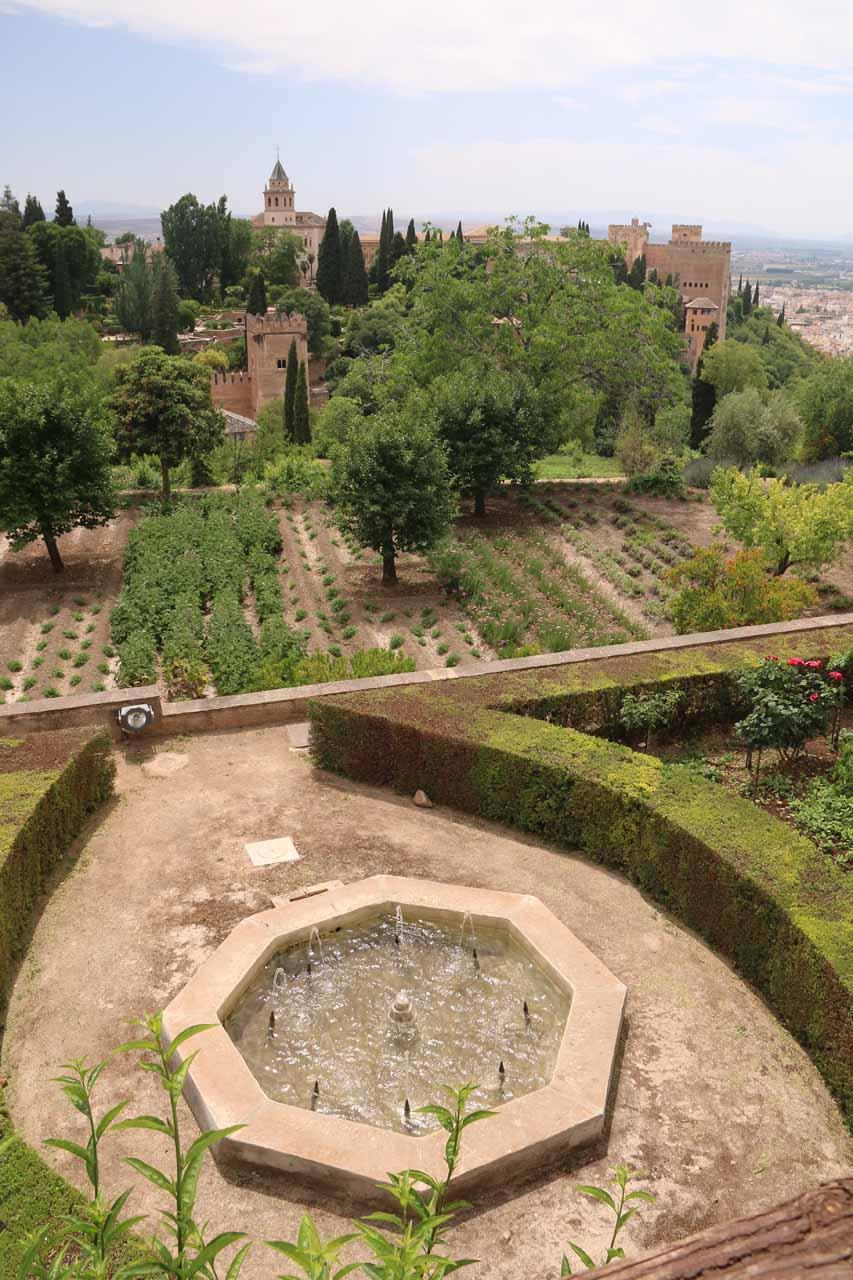 Looking across the garden from Generalife towards Alhambra
