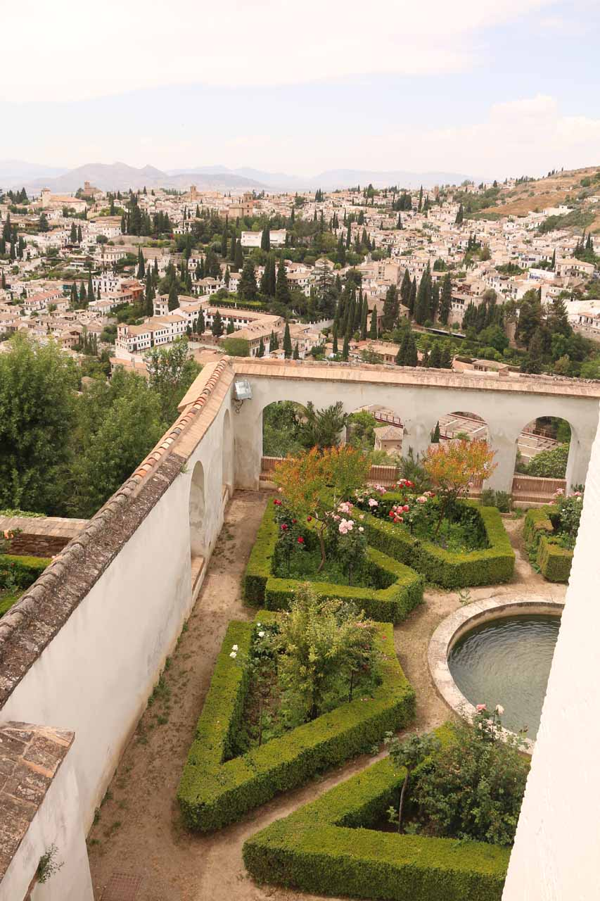 Looking over a fancy garden area while looking towards the Albayzin from Generalife