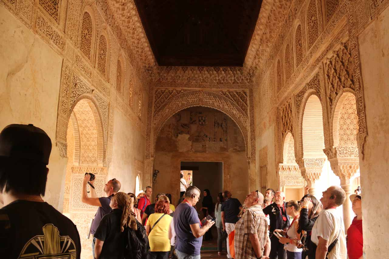 Inside one of the elaborately decorated rooms in the Palace of the Generalife