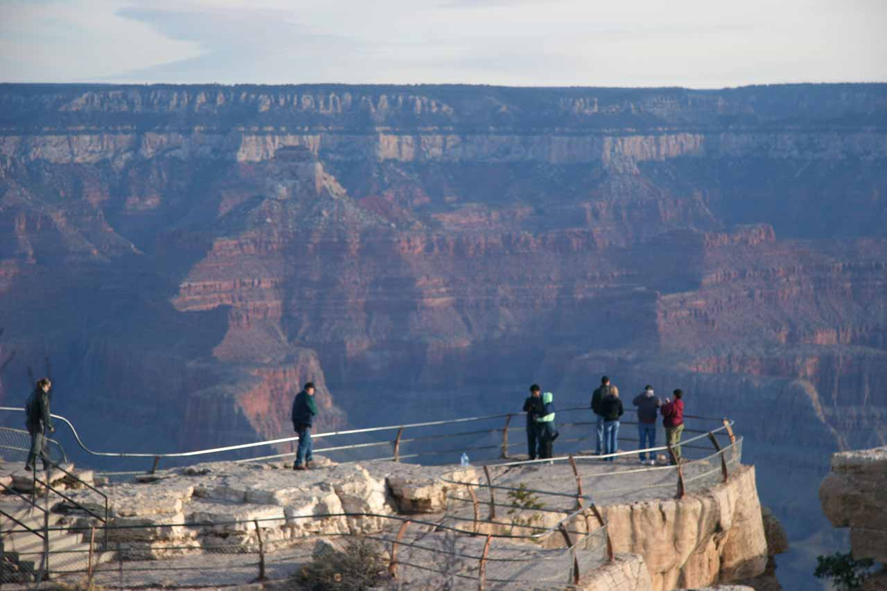 People at one of the overlooks of the South Rim of the Grand Canyon