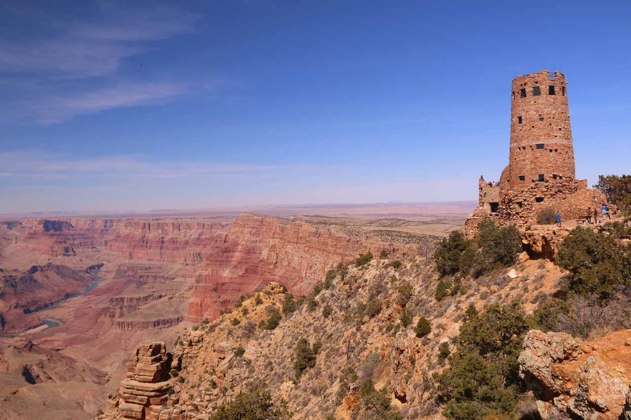 Roughly an hour's drive north-northwest of Flagstaff was the Desert View Watchtower, which overlooked the eastern end of the Grand Canyon and the Colorado River