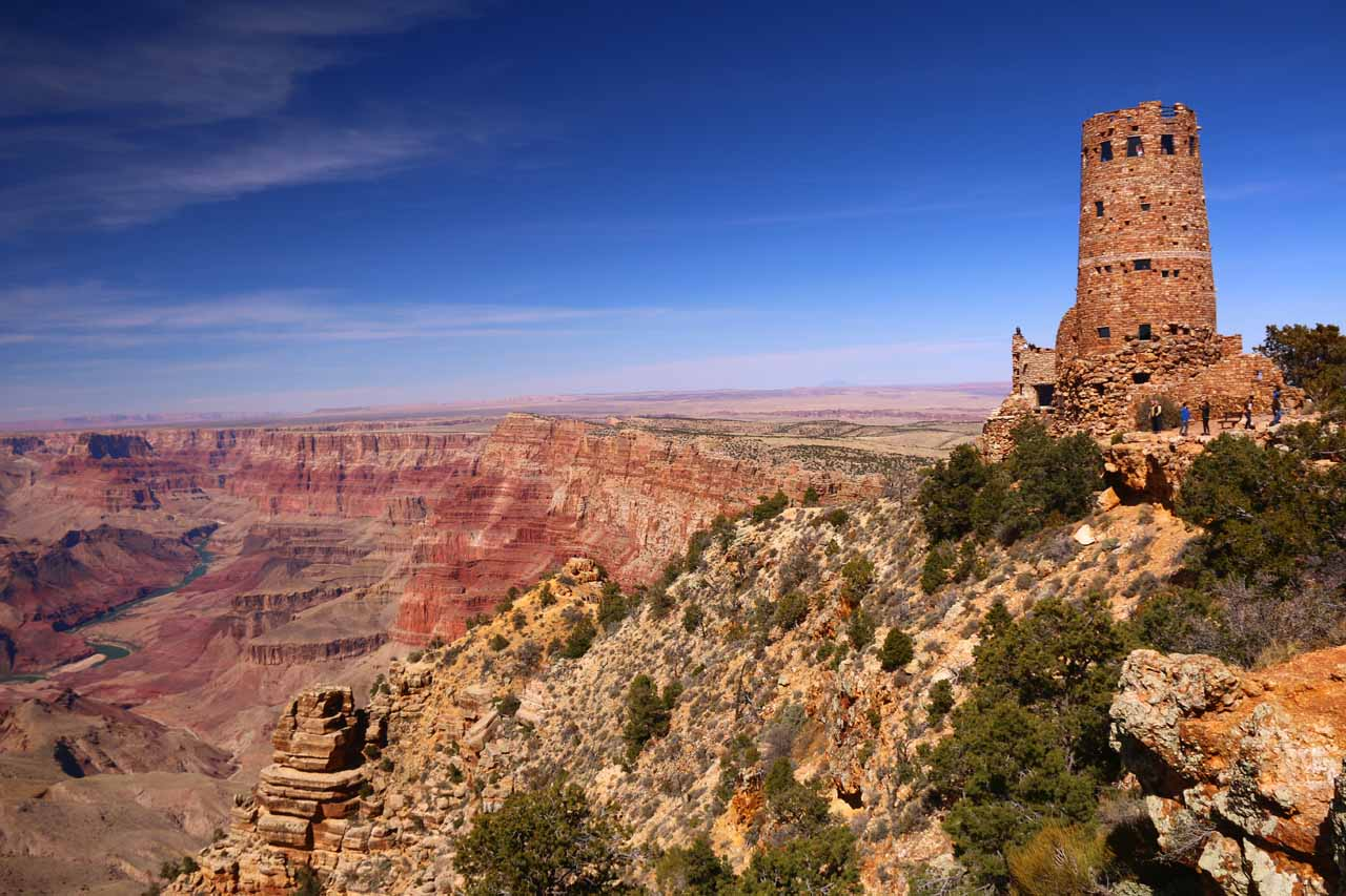 The Desert View Watchtower in the eastern end of the Grand Canyon