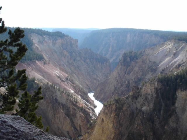 Grandview_Point_002_jx_06212004 - For those who'd rather not spend as much time and effort (and not mind the crowds) to experience the Grand Canyon of the Yellowstone, there were roadside views like the Grandview Point Lookout