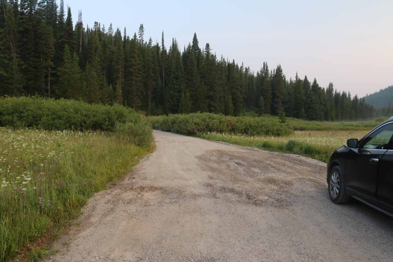 Looking at the surface of the Grassy Lake Road