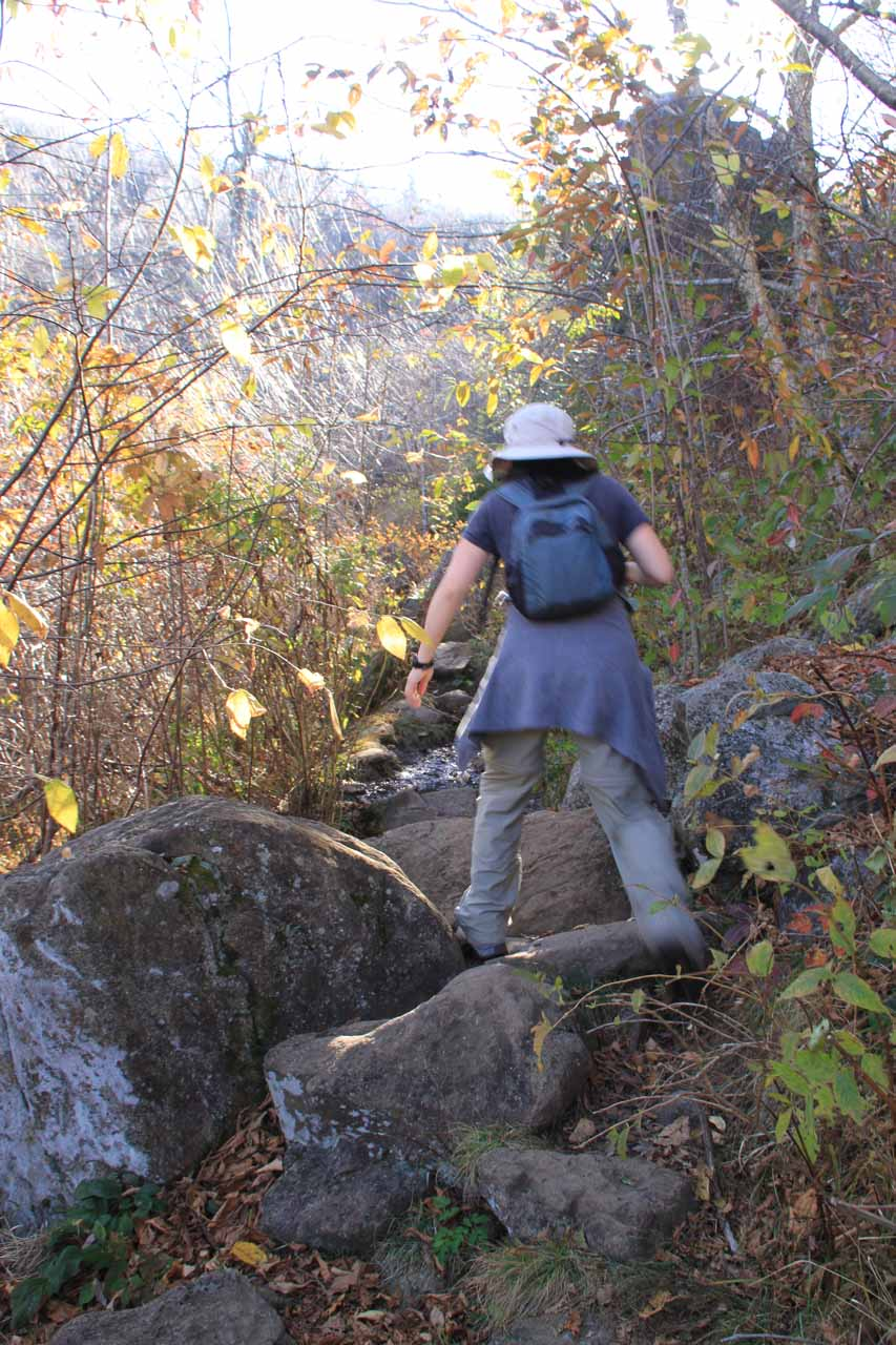 Julie scrambling to get to Upper Falls