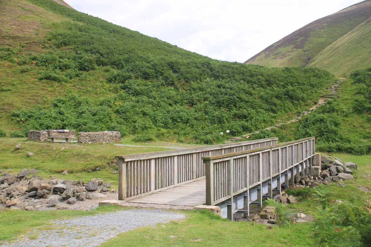 Crossing the bridge over the Roaring Linn