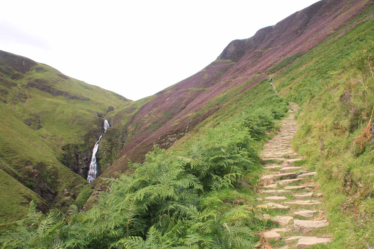 The narrow and climbing trail to Loch Skeen with Gray Mare's Tail in the background