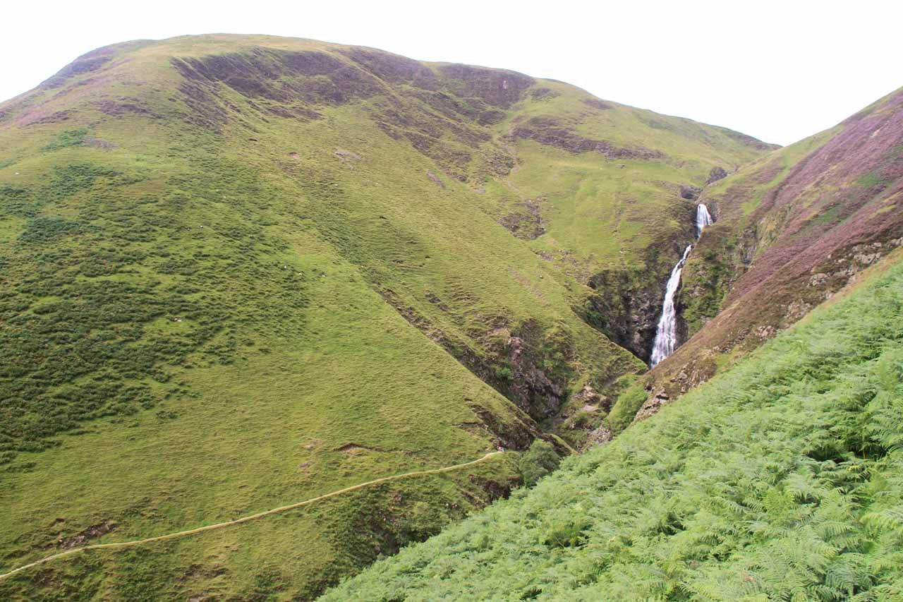 Gray Mare's Tail and the Waterfall Trail in context as seen from the Loch Skeen Trail