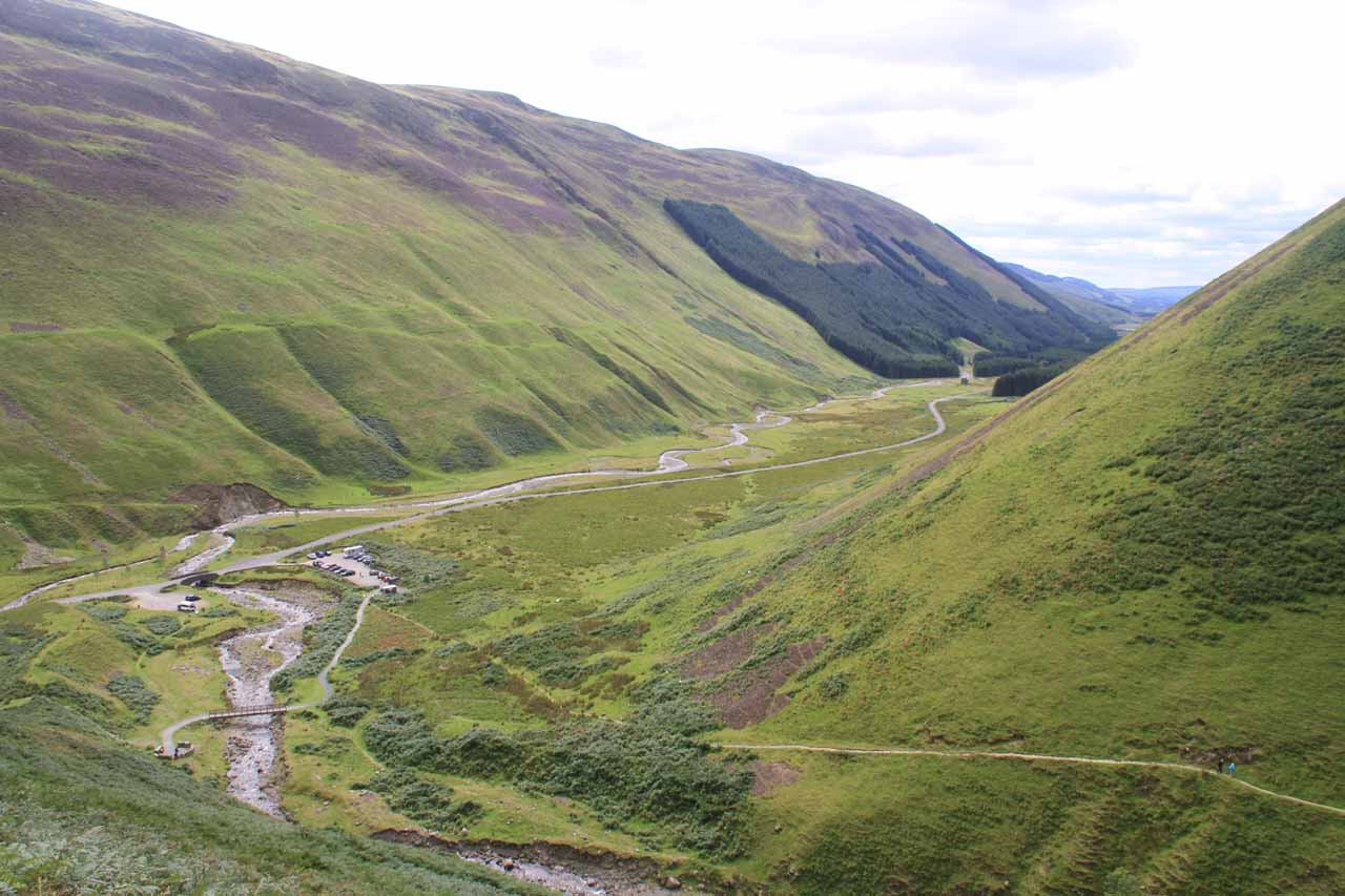 Looking back down the valley from further up the Loch Skeen Trail as the Roaring Linn curves and joins the Moffat Water