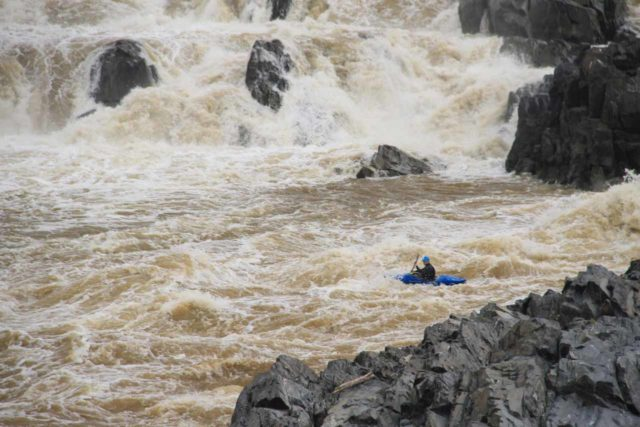 Great_Falls_Park_051_06112014 - A kayaker navigating through the lowermost sections of the Great Falls of the Potomac