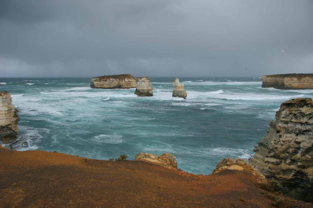 About 12km east of Warrnambool, the Great Ocean Road (B100) branched off of Princes Hwy (A1) and passed by awesome coastal scenery such as the Bay of Islands section nearly 36km further to the east
