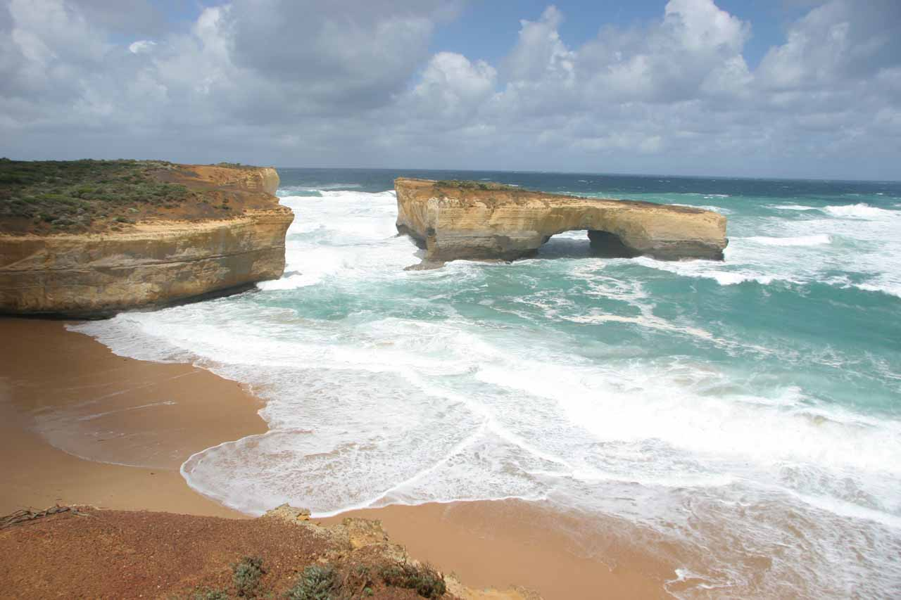 Further west of Lorne, the Great Ocean Road presented even more dramatic scenery including the Twelve Apostles, and this sea arch which was what was left of the London Bridge
