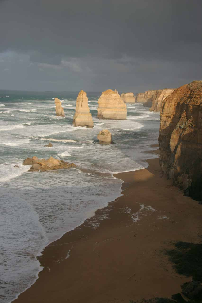 This was the famous view of the Twelve Apostles, which was the signature landmark of the Great Ocean Road near Port Campbell (further west of Apollo Bay)