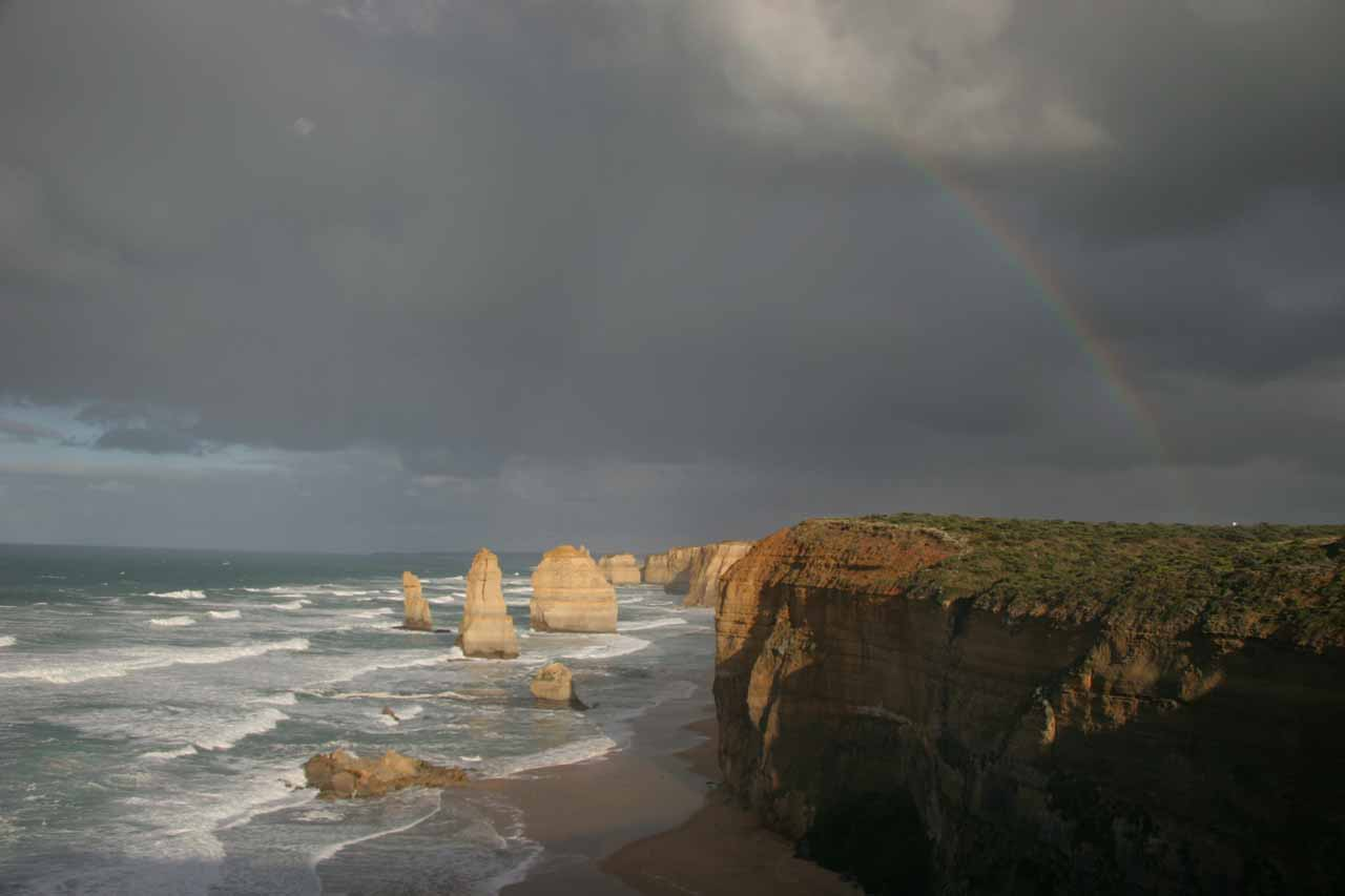 Morning rainbow over the Twelve Apostles