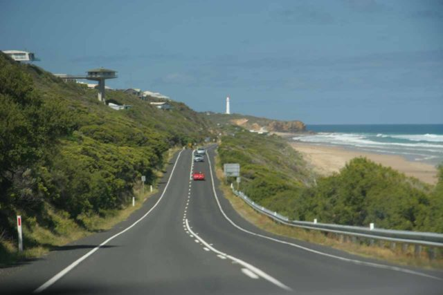 Driving on the left side of the road while heading towards Melbourne along the Great Ocean Road in the state of Victoria, Australia