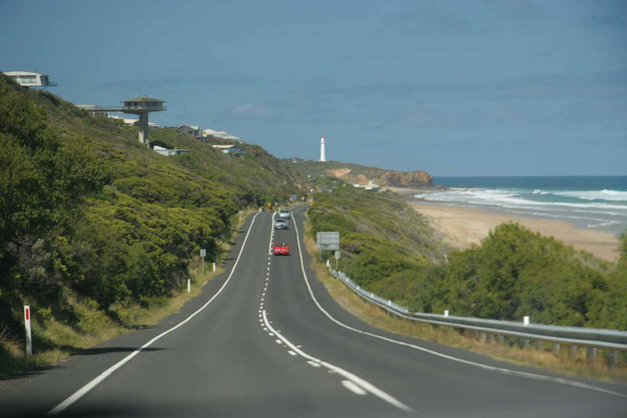 The beautiful scenery along the Great Ocean Road.  This photo was taken somewhere between Lorne and Melbourne