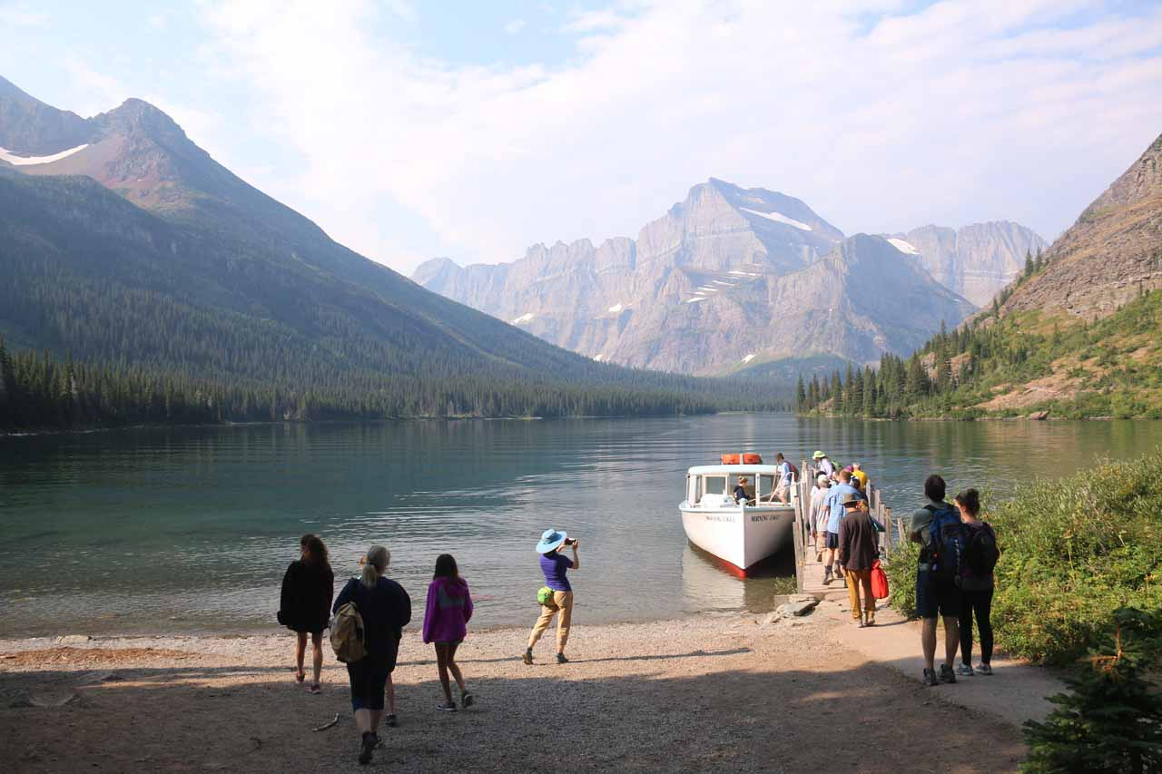 Approaching the boat docked at Lake Josephine